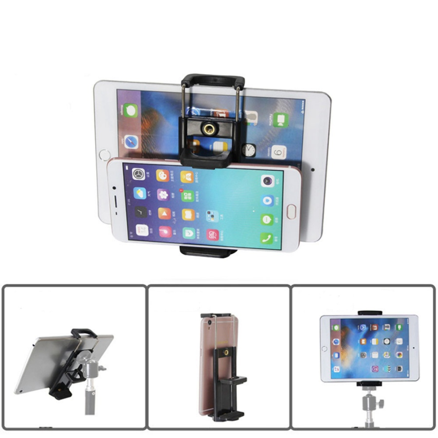 Khung kẹp đôi kẹp 2 máy cùng lúc, kẹp ipad, kẹp điện thoại gắn tripod (không gồm tripod)