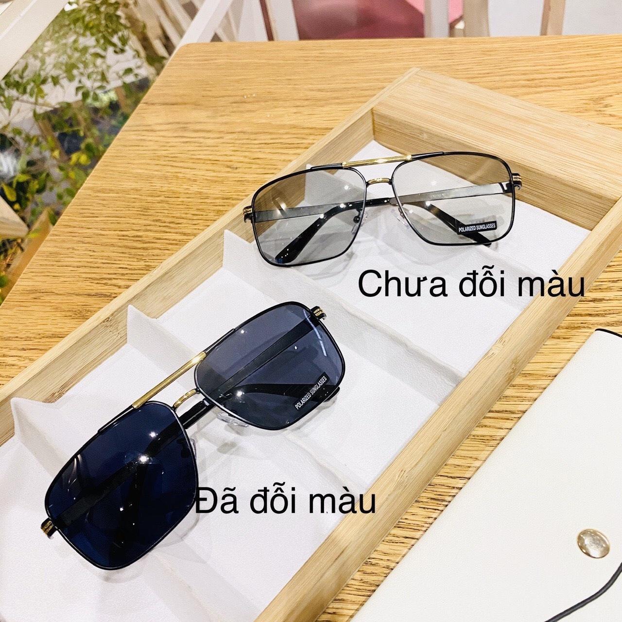 Kính mát nam cao cấp tròng kính đổi màu khi đi ra nắng, đổi màu theo nhiệt độ viền kim loại Jun Secrect BDAUDI611