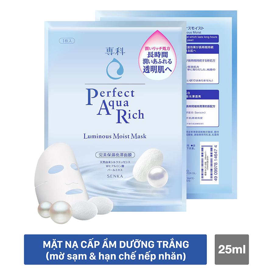 Mặt Nạ Cấp Ẩm Dưỡng Trắng Senka Perfect Aqua Rich Luminous Moist Mask 14647 (25ml)