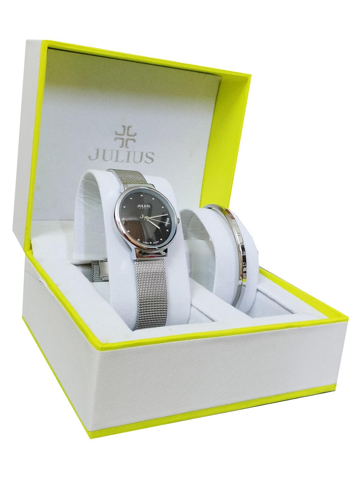 Bộ combo đồng hồ nữ Julius Ja-426 bạc mặt đen và lắc tay Julius