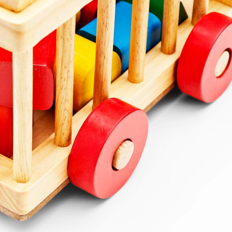 Đồ chơi gỗ cao cấp - Xe cũi thả hình gỗ mộc