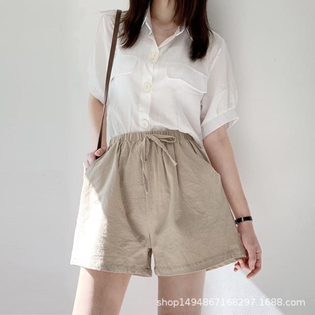 Quần đùi, quần short nữ chất thô đũi ống suông có túi (hàng Quảng Châu)