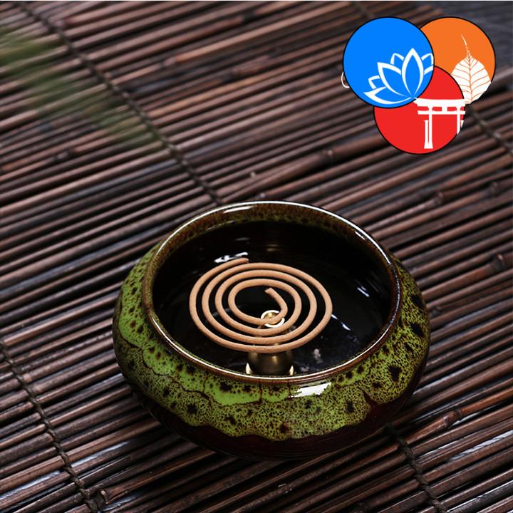 Lư xông trầm hương đỉnh đốt nhang gốm sứ