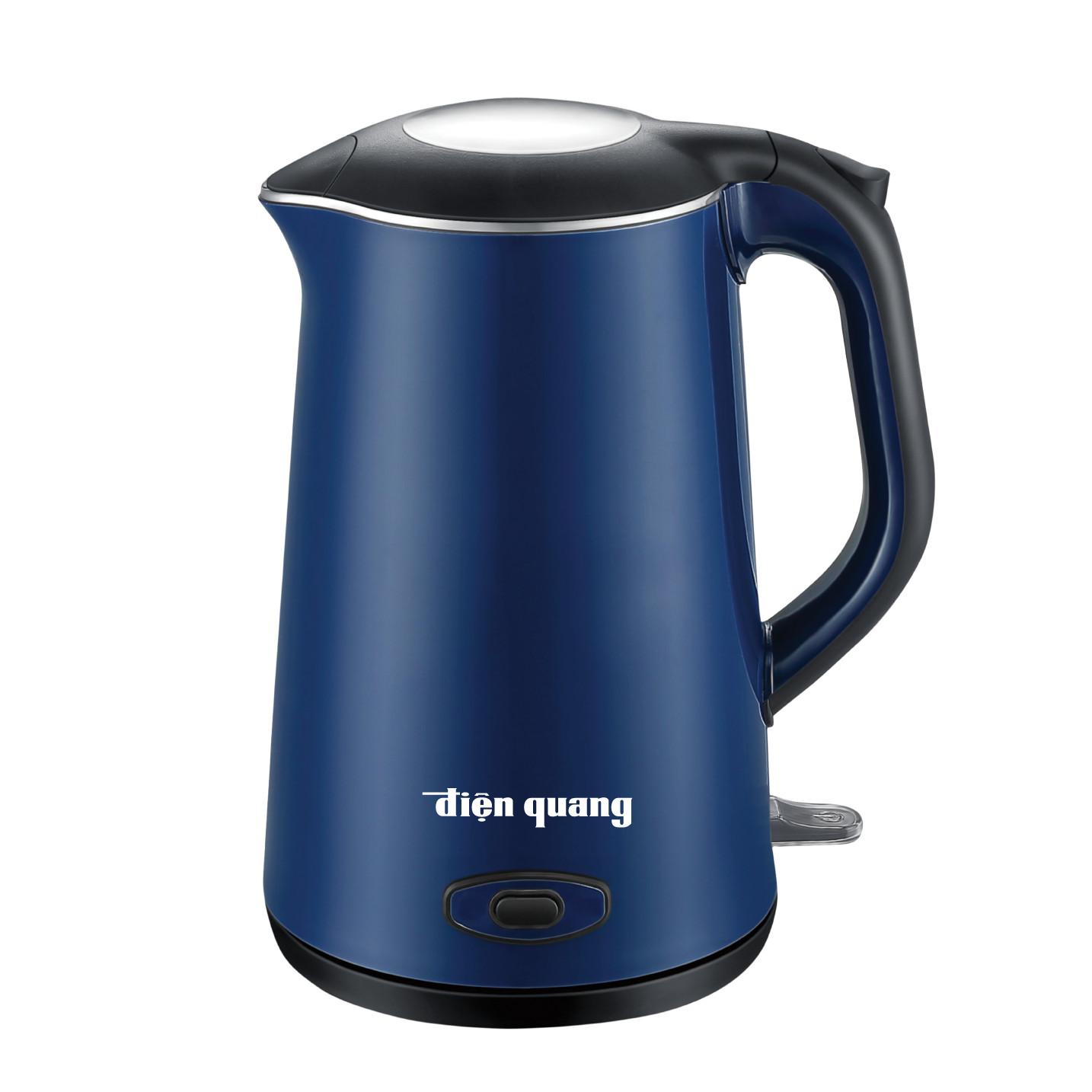 Ấm đun nước cao cấp Điện Quang ĐQ EKT09 1515 B KW (1500W, 1.5L, inox 304, vỏ 2 lớp, màu xanh dương, có chức năng giữ ấm) - Hàng chính hãng