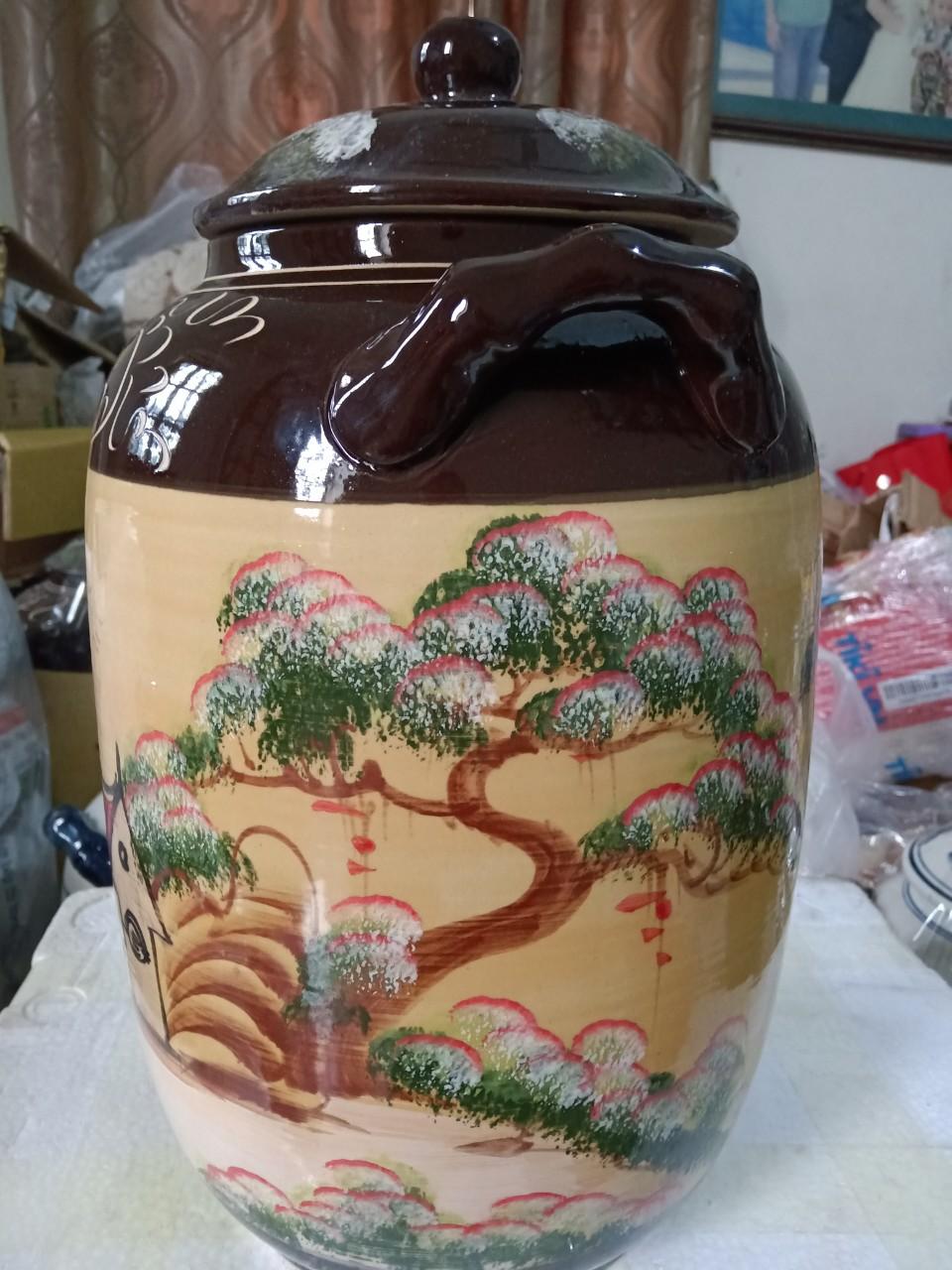 Hũ đựng rượu gạo gốm sứ Bát Tràng vẽ phong cảnh loại 20L