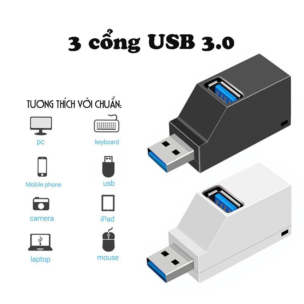 Bộ chia USB HUB 3 cổng tốc độ cao cho máy tính, Laptop, PC, Tivi, Ô tô, xe hơi, thiết bị ngoại vi nhỏ gọn Dan House USB3.02.0-Hàng chính hãng