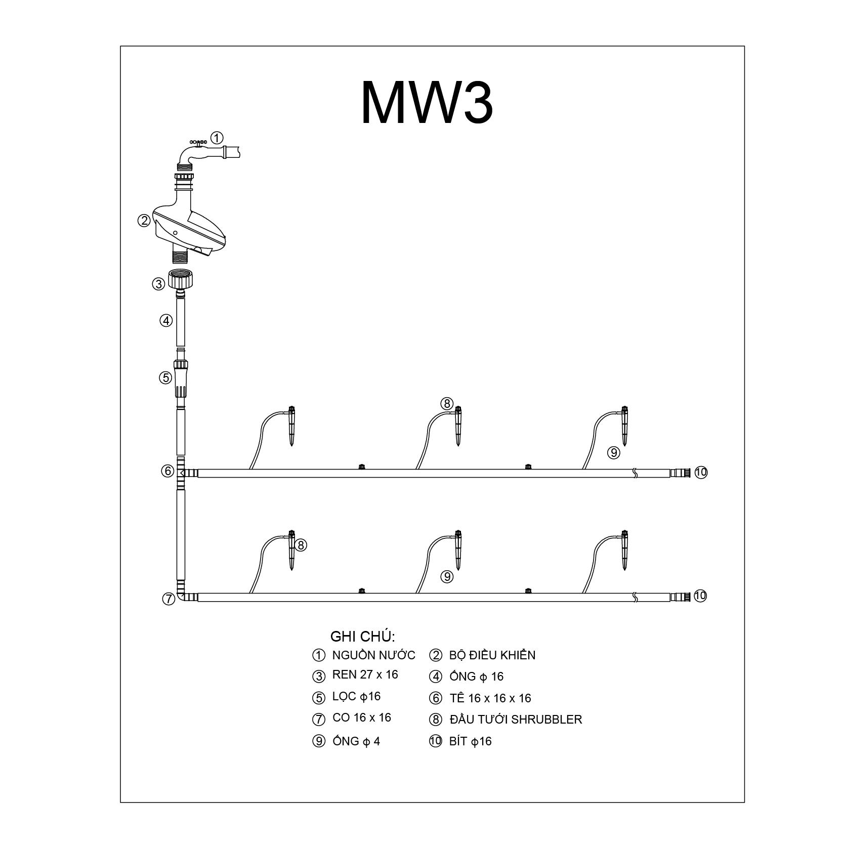 Bộ tưới cây hoa 8 cánh MW3