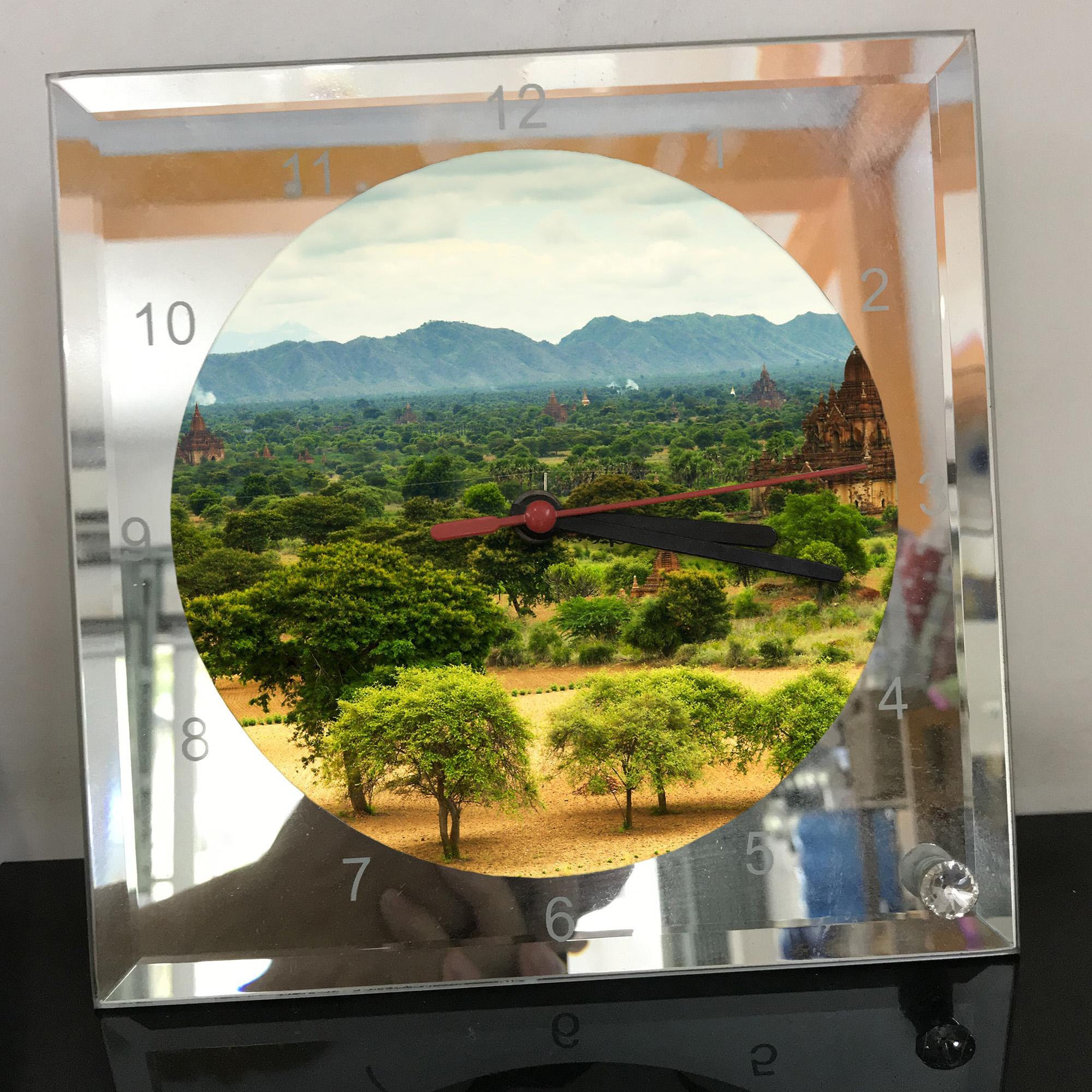 Đồng hồ thủy tinh vuông 20x20 in hình Temple - đền thờ (30) . Đồng hồ thủy tinh để bàn trang trí đẹp chủ đề tôn giáo