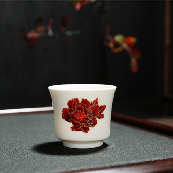 Chén uống trà Cảnh Đức Trấn sm 005 - Hoa mẫu đơn