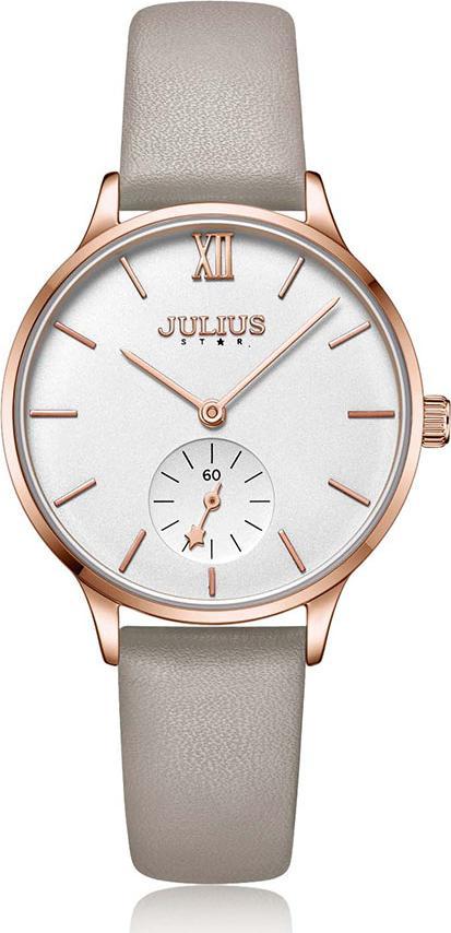 Đồng Hồ Nữ Julius Star Hàn Quốc JS-010C Dây Da Xám Nhạt