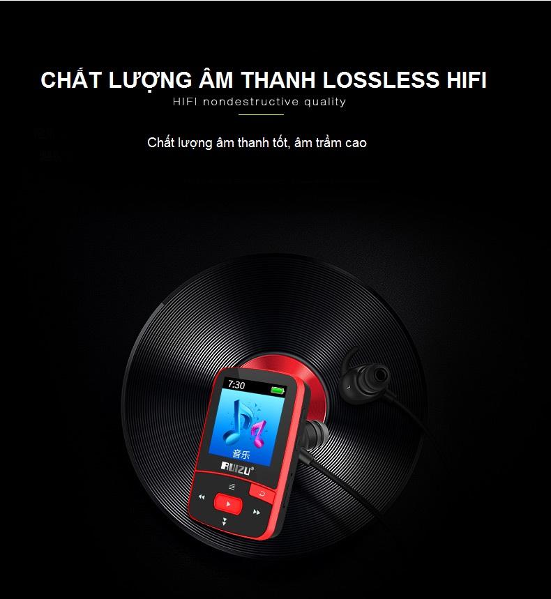Máy nghe nhạc mp3 bluetooth 4.0 RUIZU X50 8GB+ Kèm Thẻ Nhớ 8G Hàng Nhập Khẩu - Màu Đỏ