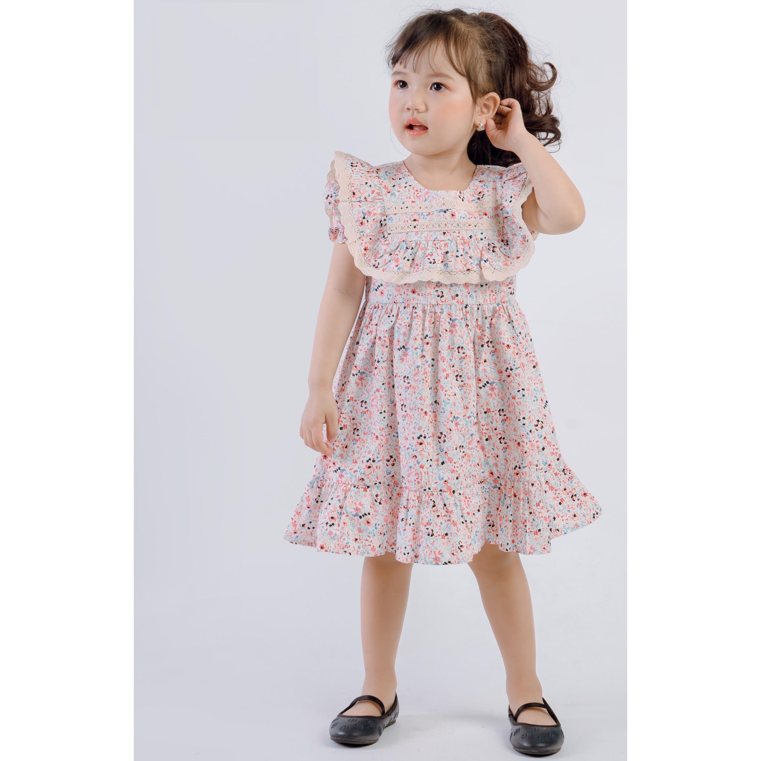 Váy thô hoa cộc tay phối ren bé gái 1-12 tuổi - Đầm bé gái Thương hiệu OEM