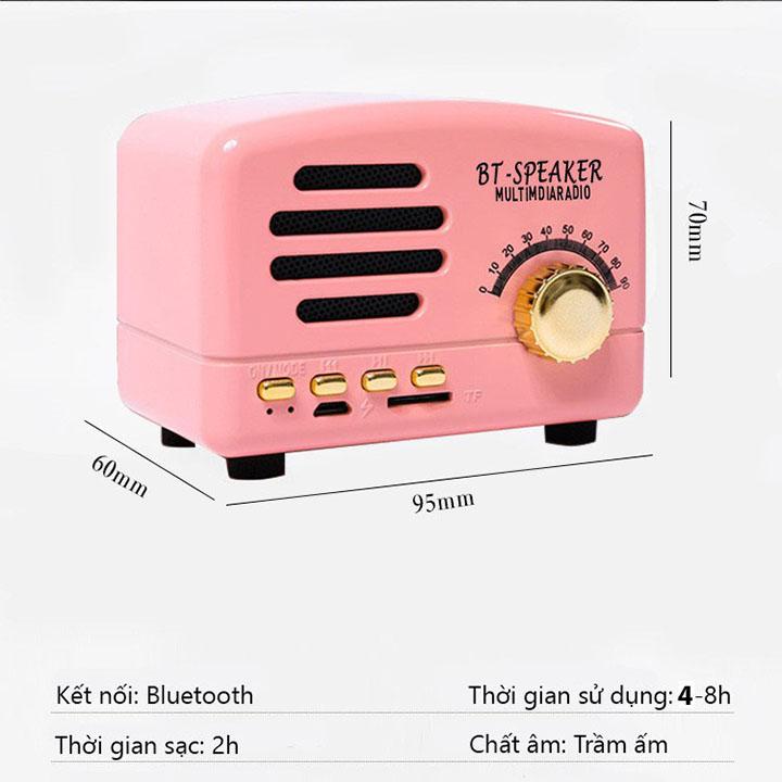Loa bluetooth mini giá siêu rẻ di động cổ điển BT01 vân gỗ retro dễ thương decor phòng , Loa BT Speaker âm thanh trầm cực hay