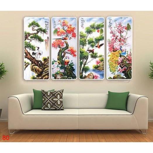 Bộ 4 tấm tranh treo tường Tứ Quý TQ80 /Gỗ nhập khẩu Hàn Quốc-Bo viền,chống lóa,ẩm mốc,mối mọt