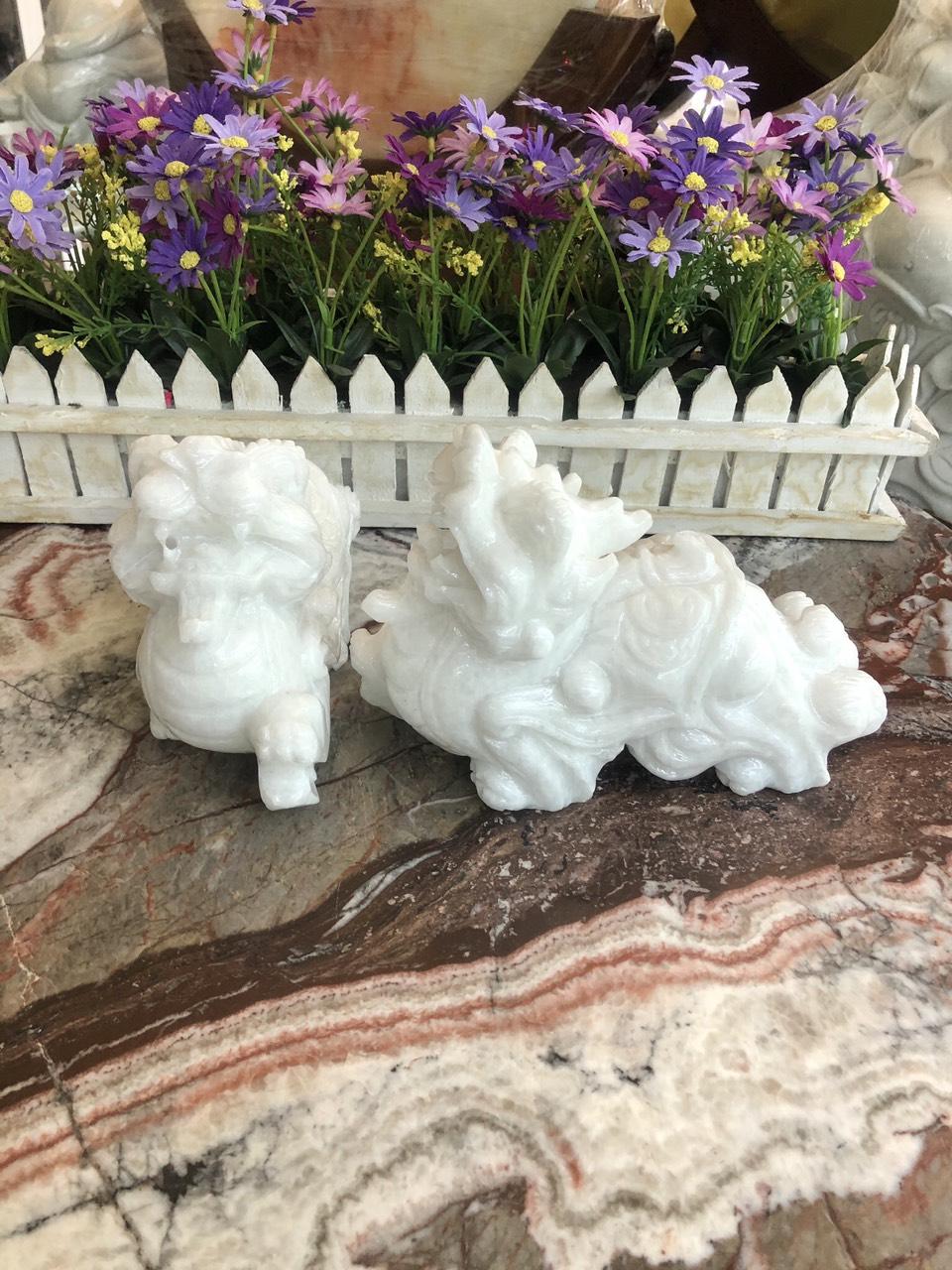 Cặp Tỳ Hưu phong thủy đá cẩm thạch trắng - Dài 20 cm