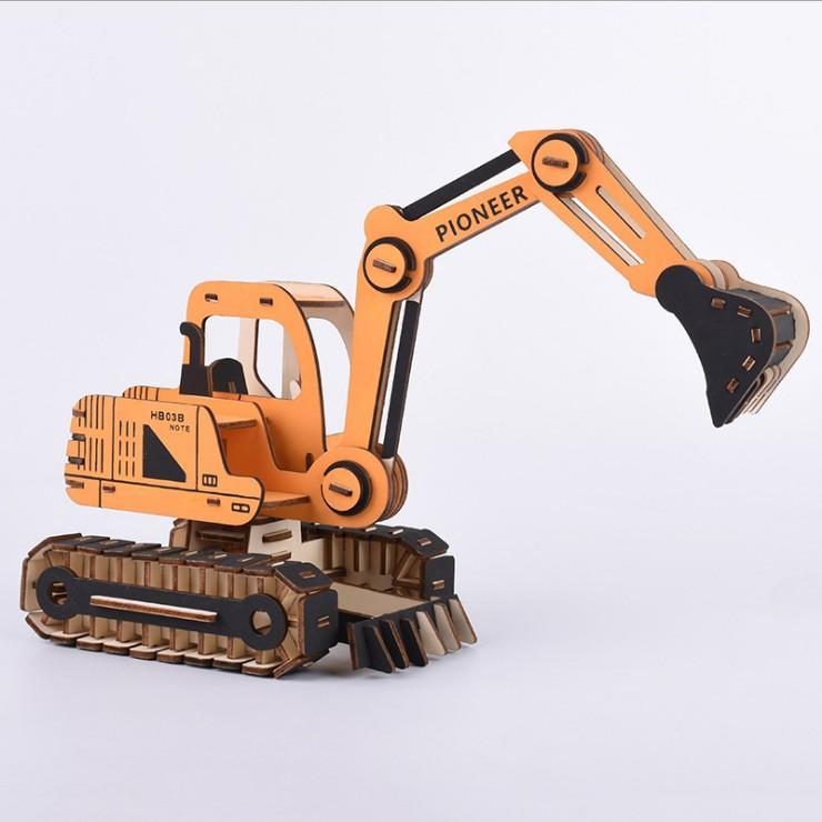 Đồ chơi lắp ráp gỗ 3D Mô hình Máy Xúc Excavator Laser