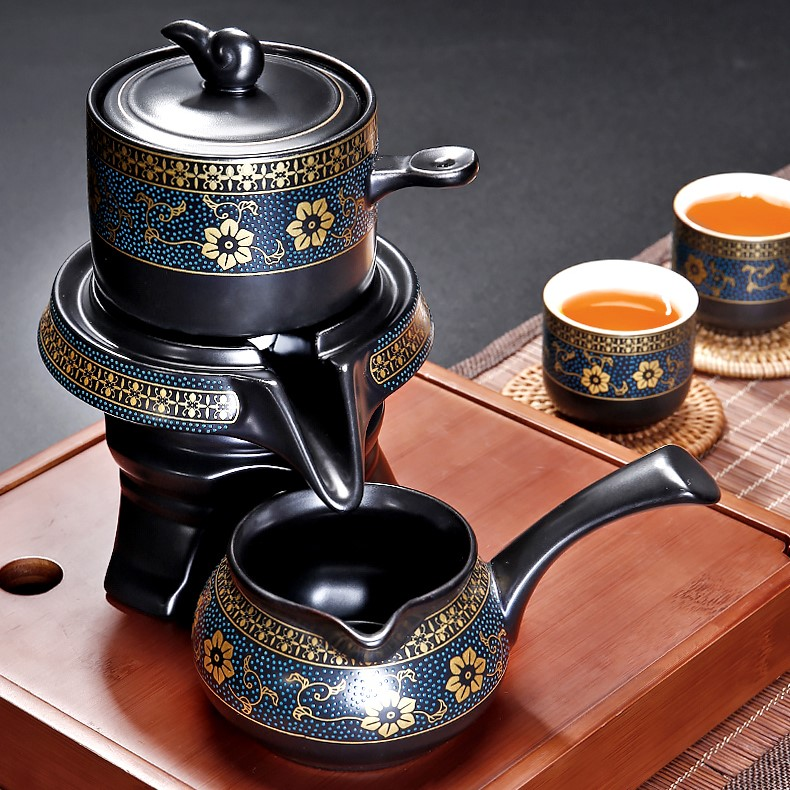 Bộ ấm chén pha trà cối xay sm009 - xanh đen trắng 11 món