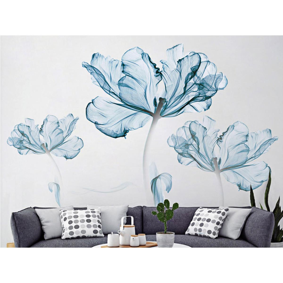 decal dán tường hoa giấy xanh 2 mảnh