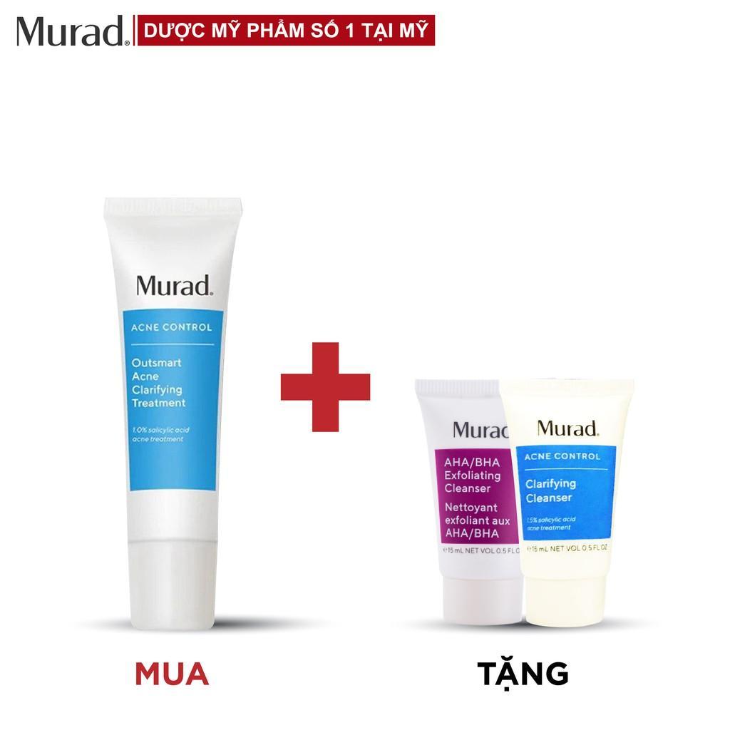 Serum giảm mụn Murad Outsmart Acne (Blemish) Clarifying Treatment 50ml TẶNG Sữa rửa mặt AHA/BHA  + SRM Acne Control 15ml