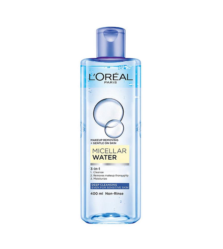 Nước tẩy trang L'oreal Paris Micellar Water 3 in 1 tặng kèm bông tẩy trang slicot - Pháp Chính Hãng
