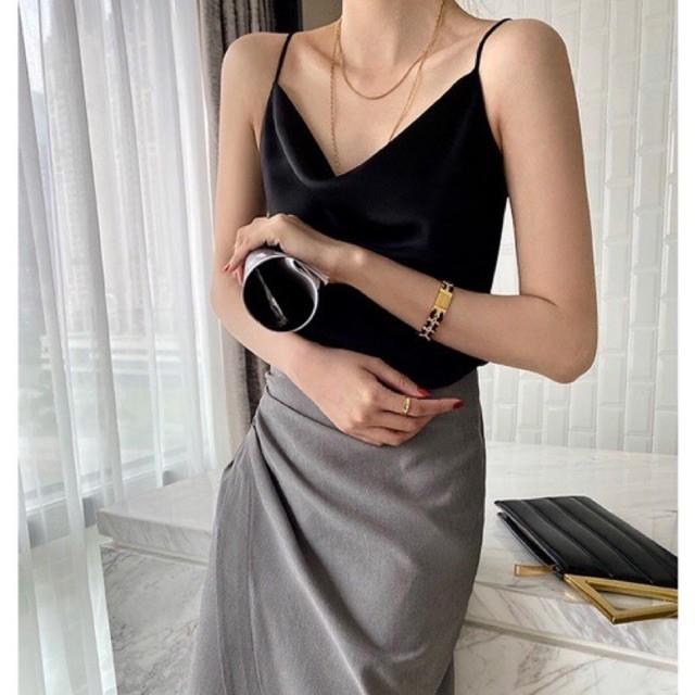 Áo 2 dây lụa cổ đổ Hàn Quốc - top áo hai dây nữ cổ trễ thiết kế