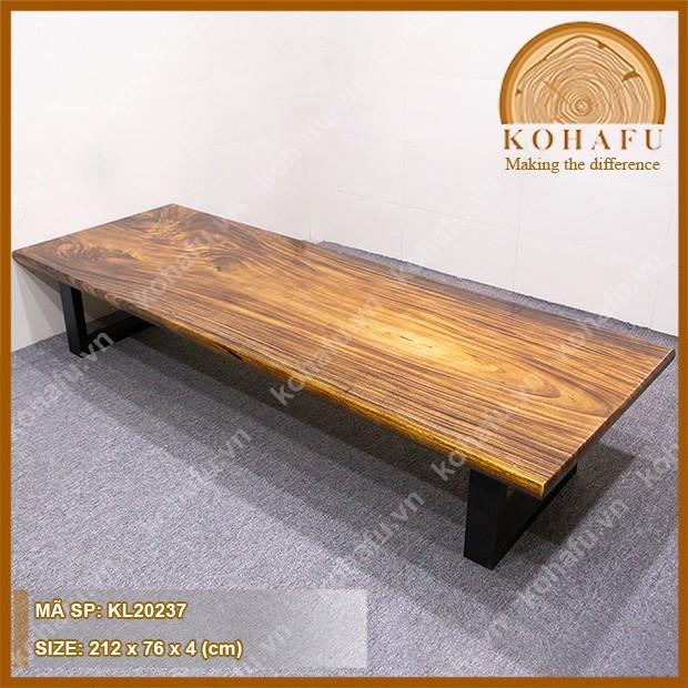 Bàn trà ngồi bệt kiểu Nhật, gỗ me tây nguyên tấm vân đẹp, dài 212 x rộng 76 x dày 4  (cm) - KL20237
