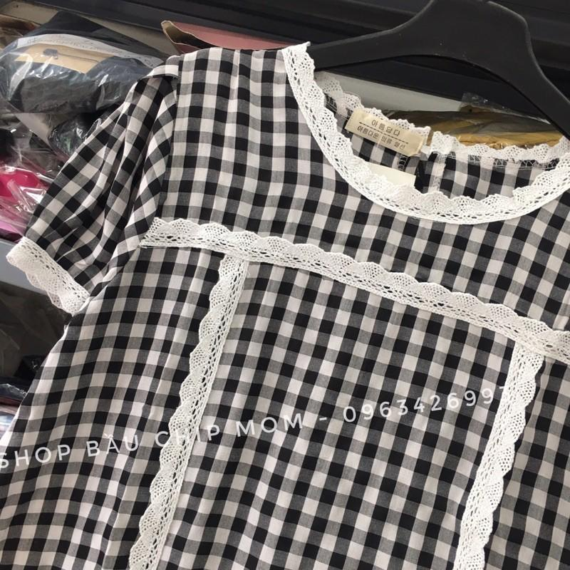 Váy Bầu Thiết Kế Mẫu Hot Nhất, Kẻ Caro Kết Hợp Ren Đẹp Cực Xinh Và Thời Trang V45