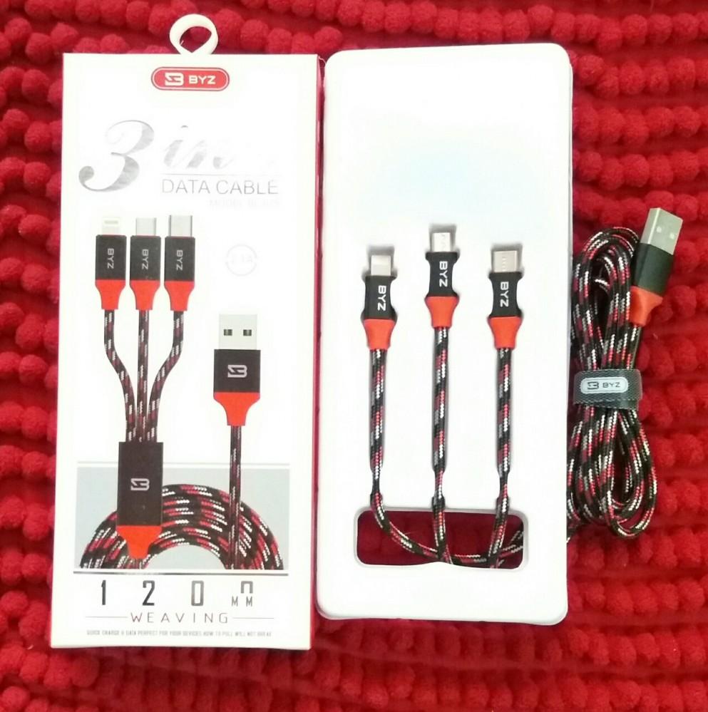 Cable sạc dây dù 3 đầu BYZ sử dụng bền bỉ - Hàng chính hãng
