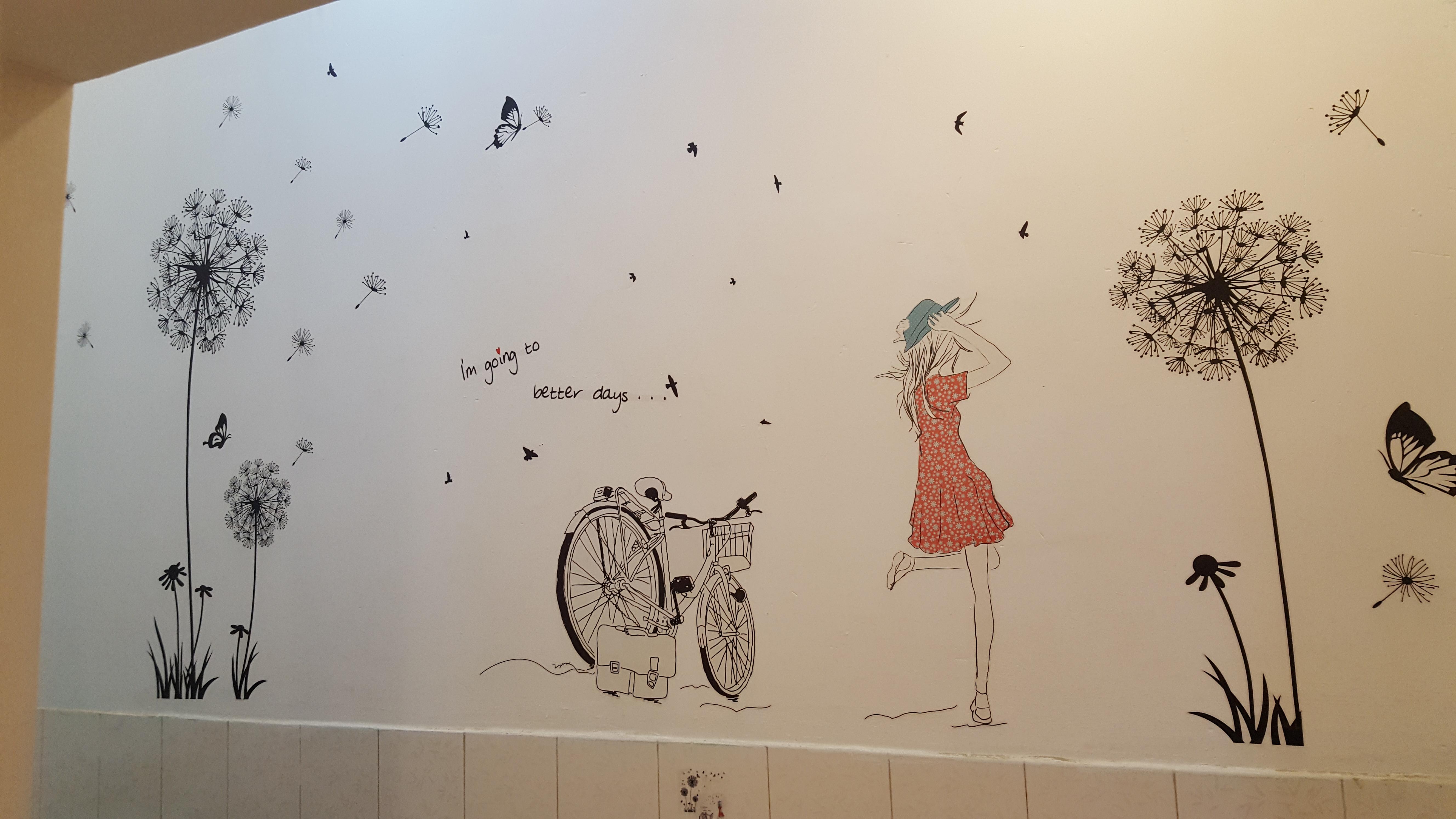 Decal dán tường Combo Cô gái và hoa bồ công anh đen