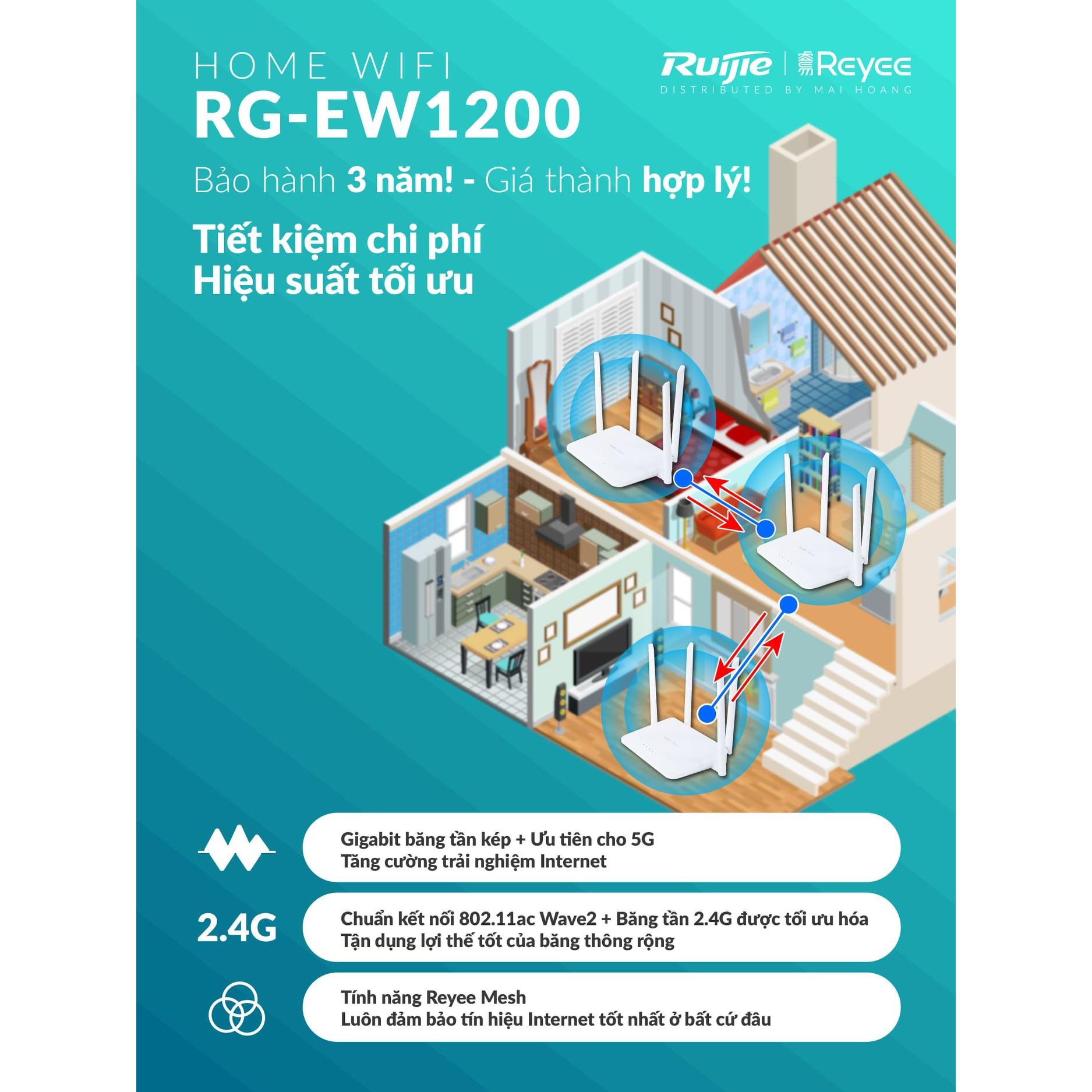 Bộ phát WiFi Ruijie RG-EW1200 - Hàng chính hãng