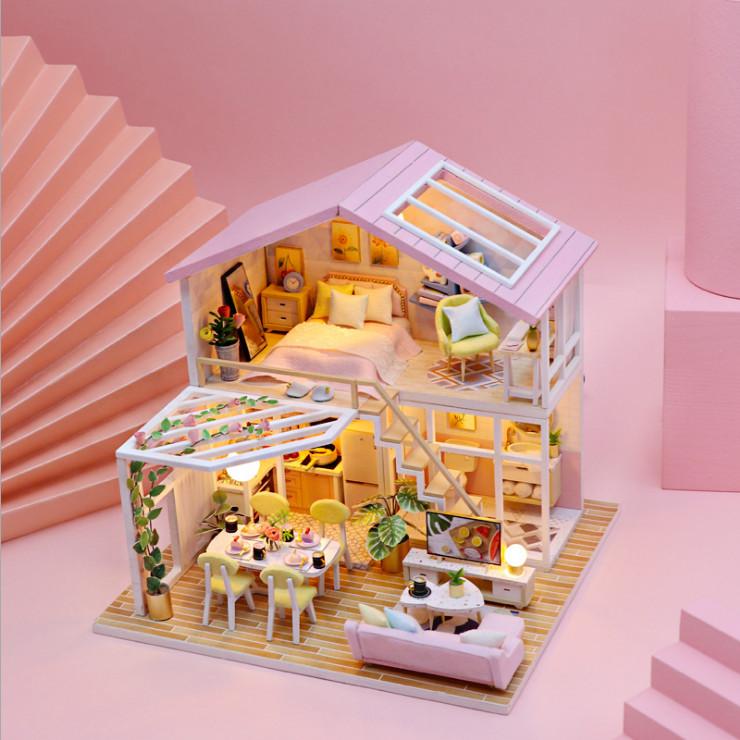Mô hình nhà DIY Doll House Sweet Time Kèm Mica Chống bụi