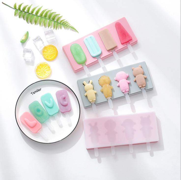 Khuôn làm kem 3 ô silicone hình dáng dễ thương tặng kèm que,Khay tạo hình làm kem tại nhà