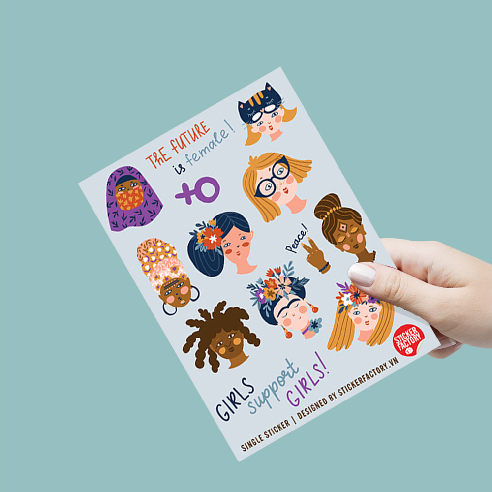 Girls support girls - Single Sticker hình dán lẻ