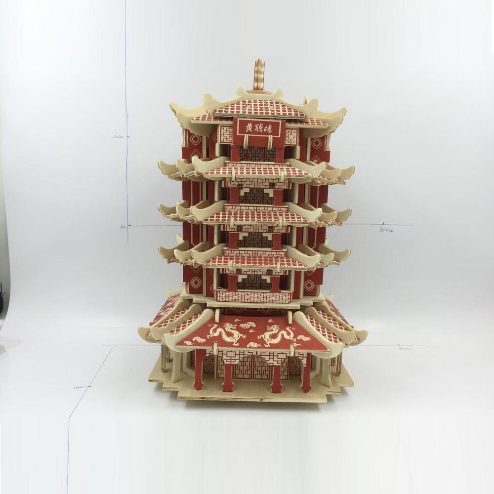 Đồ chơi lắp ráp gỗ 3D Mô hình Hoàng Hạc Lâu G-J001