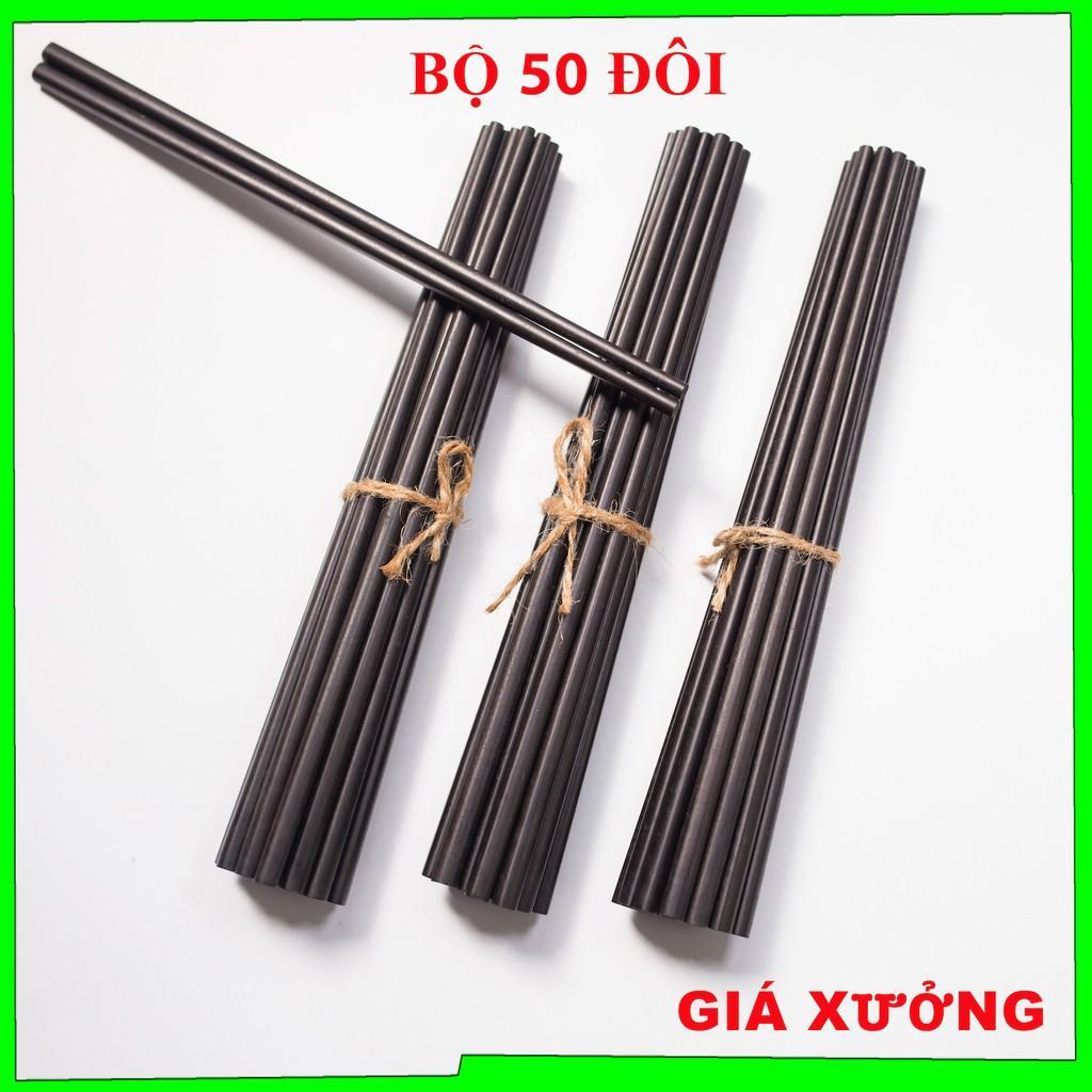 Bộ 50 đôi đũa ăn cơm cao cấp đũa ăn gỗ đen CHIU LIU, đũa đẹp tự nhiên không hoá chất, không cong vênh