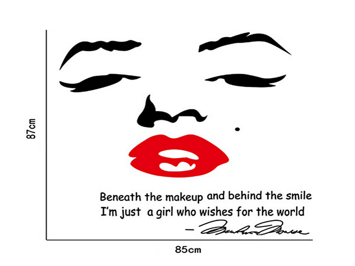 decal dán tường đôi môi đỏ