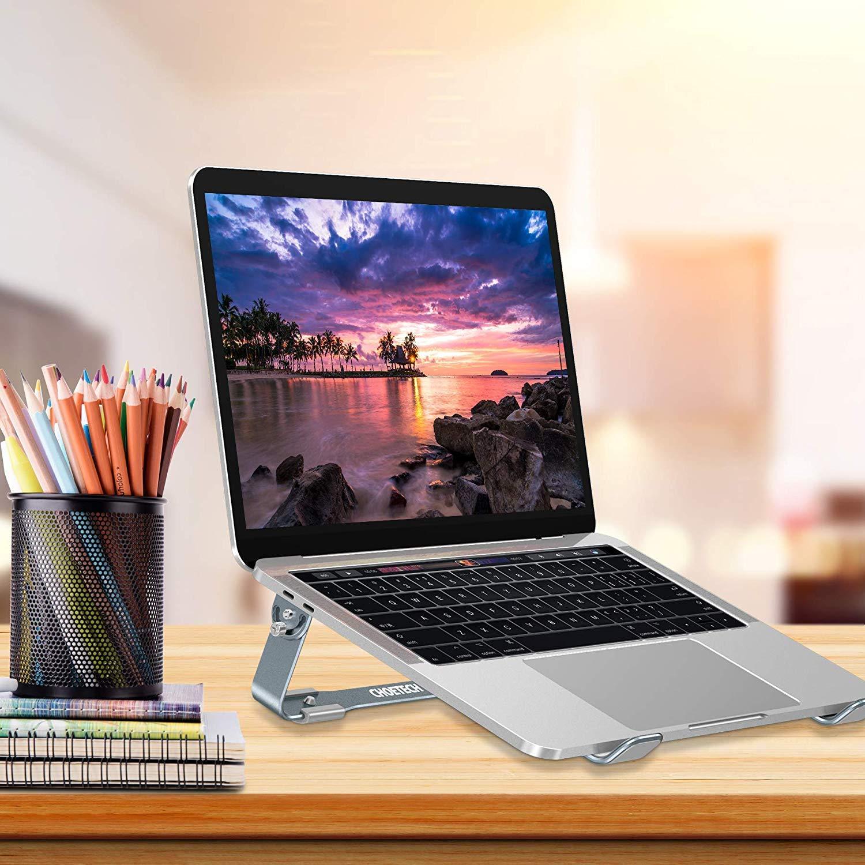 Giá đỡ Aluminum hiệu CHOETECH H033 cho Macbook Laptop 9 inch đến 17 inch giúp tản nhiệt thiết kế nhôm nguyên khối chống mỏi cổ khi làm việc - Hàng chính hãng