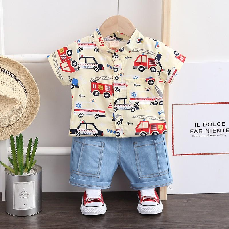BSN2 Size 80-110 (6-18kg) bộ Áo sơ mi chất đẹp + Quần Jean cho bé HÀNG QUẢNG CHÂU