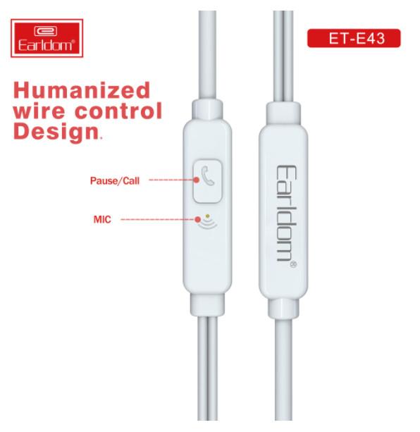 Tai nghe có dây Earldom ET-E43 cho các dòng máy - HÀNG CHÍNH HÃNG 100% (màu trắng)