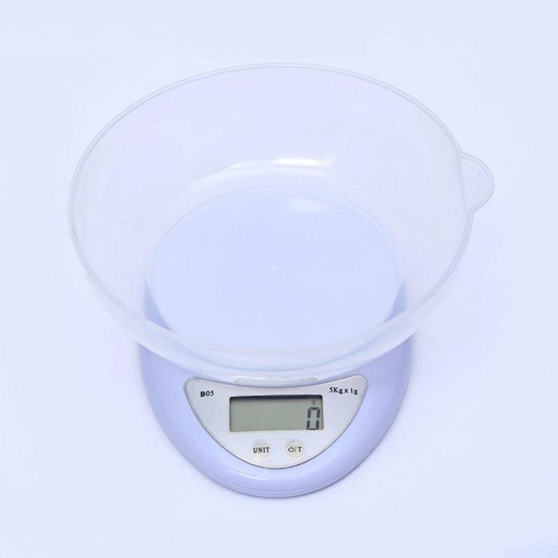 Cân thực phẩm nhà bếp, cân điện tử mini loại có nắp đựng rau củ quả nguyên liệu tặng kèm pin