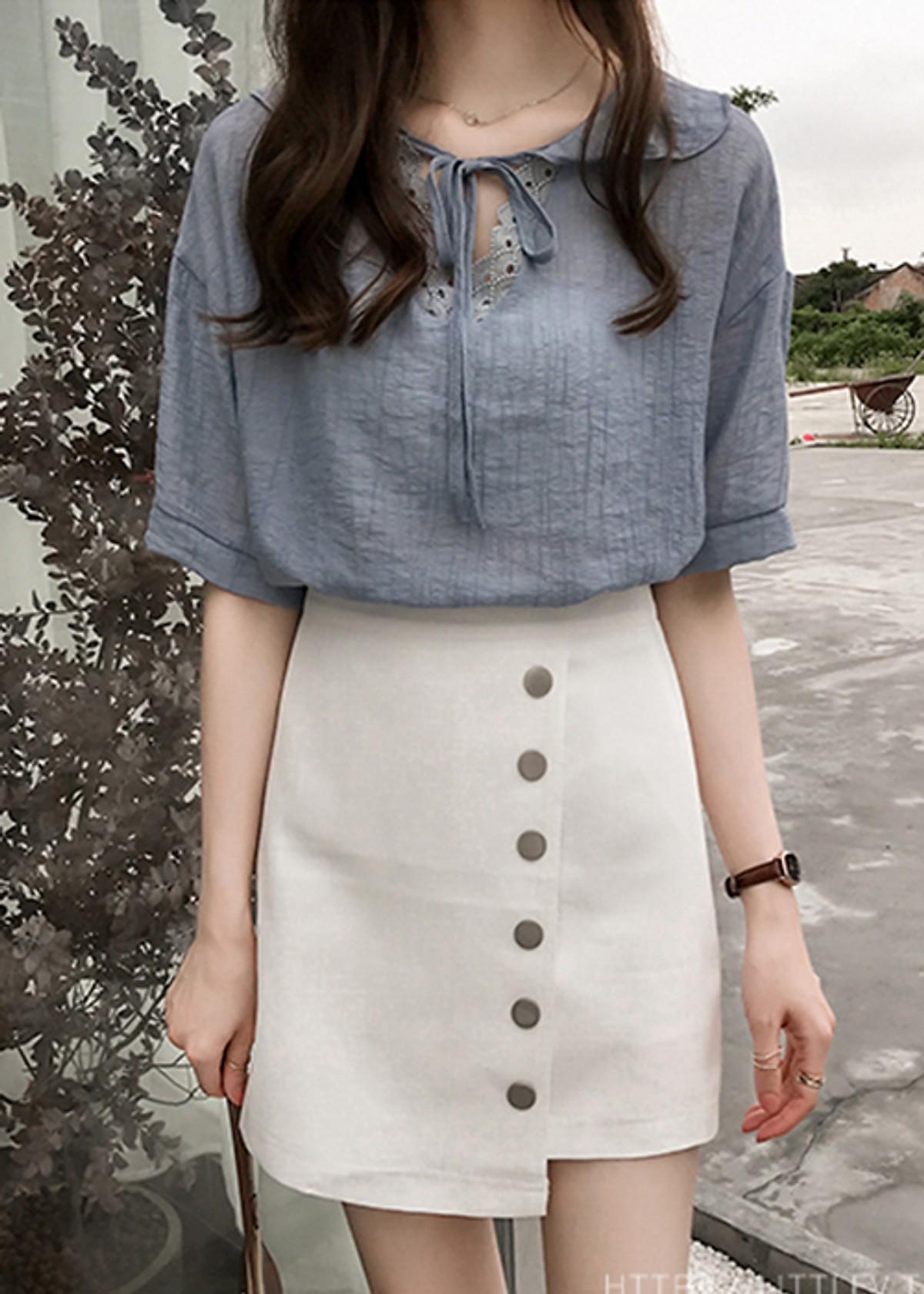 Áo sơ mi nữ tiểu thư cổ voan ArcticHunter, thời trang trẻ, phong cách Hàn Quốc