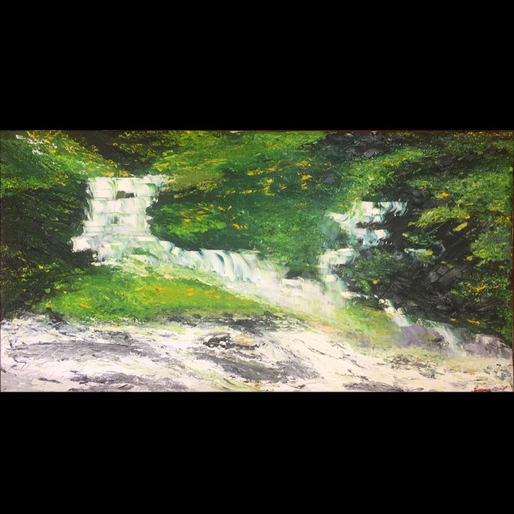 Tranh sơn dầu sáng tác vẽ tay: Thác Giang Điền
