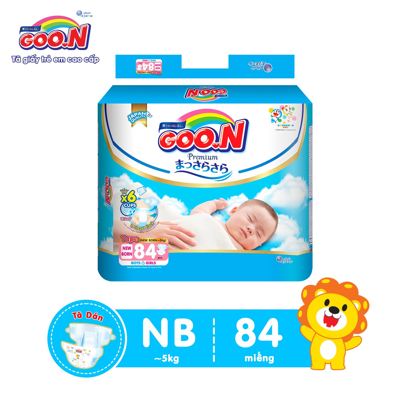 Tã dán Goon Premium cao cấp gói siêu đại NB84 ( NB~ 5kg) 84 miếng