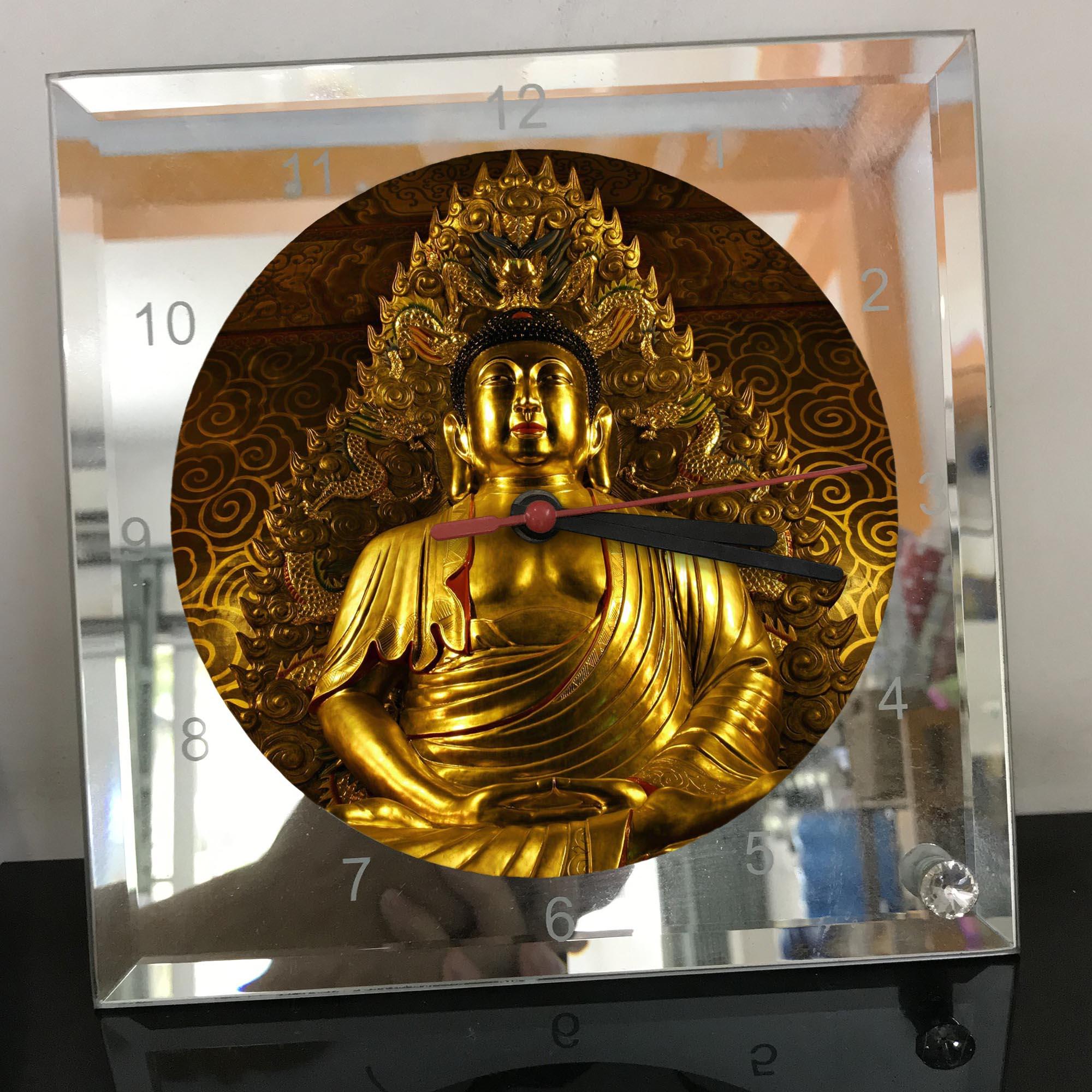 Đồng hồ thủy tinh vuông 20x20 in hình Buddhism - đạo phật (48) . Đồng hồ thủy tinh để bàn trang trí đẹp chủ đề tôn giáo