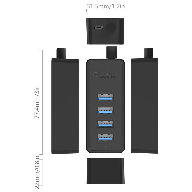 Bộ chia USB 4 PORT Orico W5P-U2-30 Đen - Hàng Chính Hãng