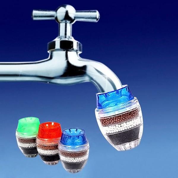 Đầu Vòi Lọc Sạch Nước Than Hoạt Tính Màu Ngẫu Nhiên (Tặng 1 Miếng Rửa Chén Silicon Màu Ngẫu Nhiên)