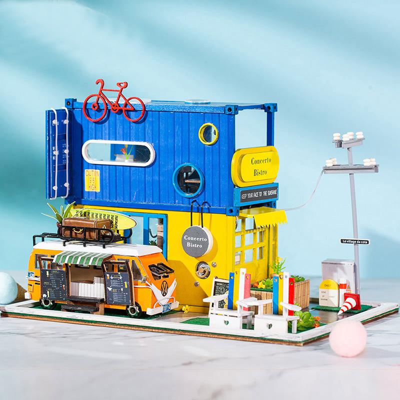 Mô hình nhà DIY Doll House Hello Summer Kèm Đèn LED và Mica chống bụi