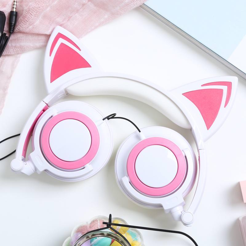 Headphone tai mèo trắng hồng classic, có micro đàm thoại