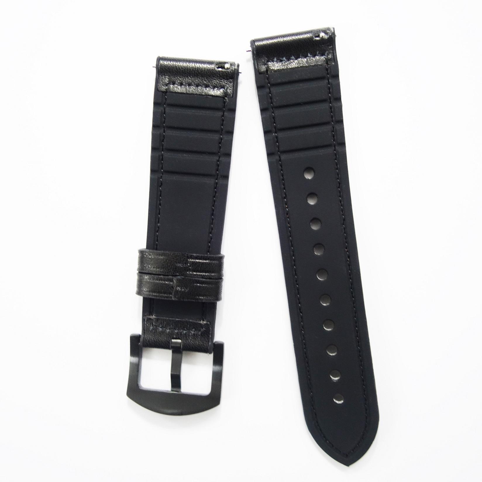 Dây da Hybird Size 22 cho Gear S3, Galaxy Watch Degign Đen
