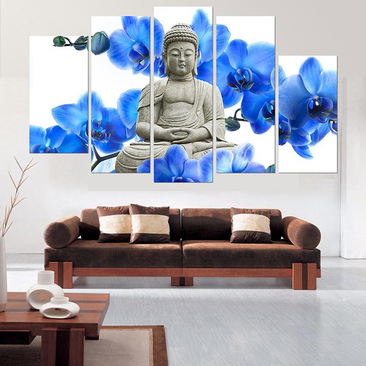 Tranh treo tường, tranh trang trí PP_ NT528 bộ 5 tấm ghép Đức Phật